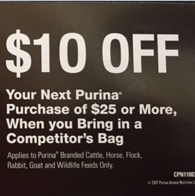 Get $10 off $25 Purina Purchase w/ Competitors Bag