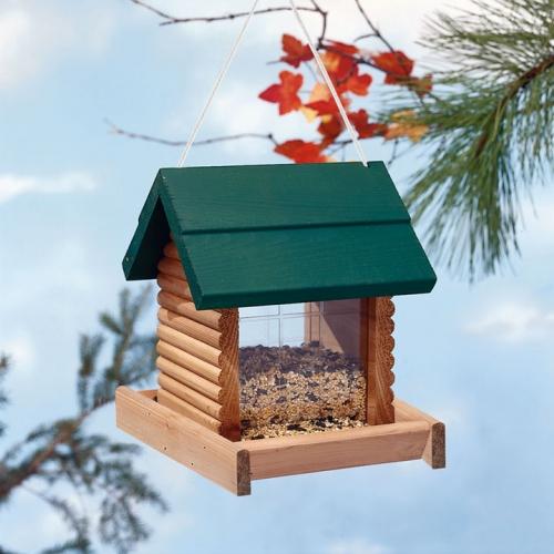 Hanging Log Cabin Birdfeeder for $15.00