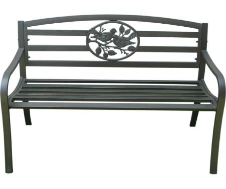 Steel Park Bench with Bird Design