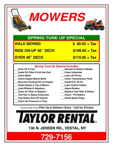 Spring Mower Tune Up Specials