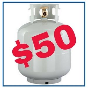 100 Lb. Propane Tank Refill: $50.00