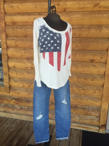 Farm Girl American Flag Thermal With Lace Detail