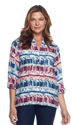 Printed Button Front Blouse by Alfred Dunner
