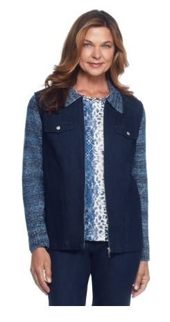 Denim Jacket With Knit Sleeves by Alfred Dunner