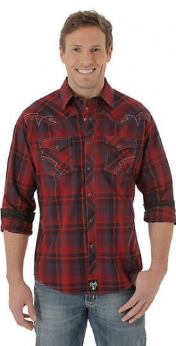 Men's Rock 47® By Wrangler® Long Sleeve Western Snap Plaid