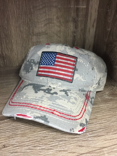 Farm Girl Ladies Camo American Flag Cap
