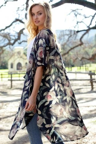 Feather Printed Sheer Kimono