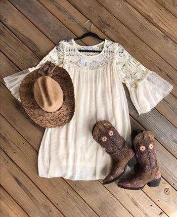Keren Hart Flowy Ivory Lace Dress