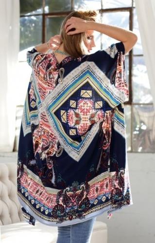 Navy Printed Kimono
