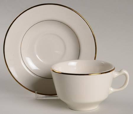 Coffee Saucer, Ivory w/ gold trim