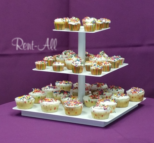 3 Tiered White Square Cup cake tree