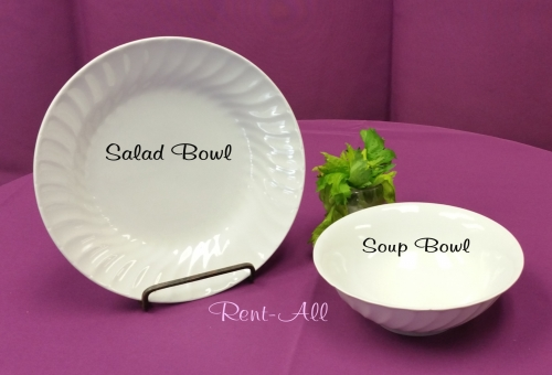 Salad Bowl White with Swirl Trim