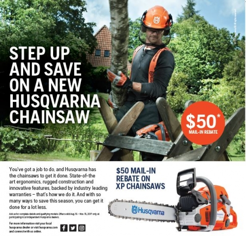 Husqvarna XP Chainsaw Rebate!