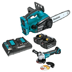 18V X2 LXT Lithium-Ion (36V) Cordless 12 Chain Saw Kit and Brushless Angle Grinder (5.0AH)