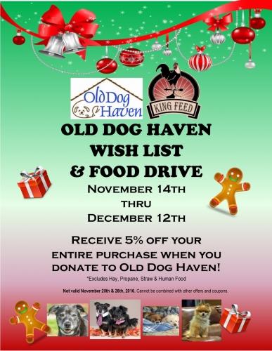 Old Dog Haven Wish List & Food Drive
