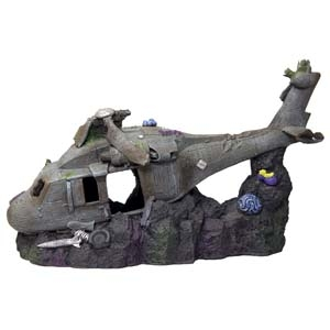 Exotic Environments® Large sized Sunken Helicopter 12in