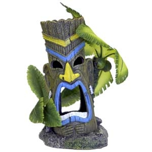 Exotic Environments® Tiki Head Statues w/Palm Tree
