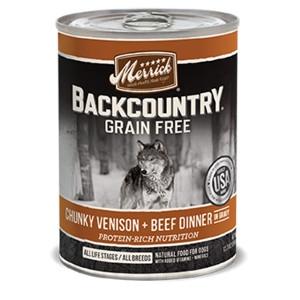 Merrick Backcountry Chunky Venison + Beef Dinner in Gravy for Dogs- 12.7oz