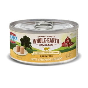 Whole Earth Farms Grain Free Real Chicken Recipe Pate for Cats- 2.75oz
