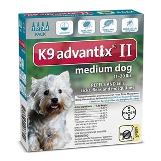 Bayer K9 Advantix II Flea Treatment for Medium Dogs 4 Pack