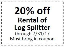 20% Off Rental of Log Splitter