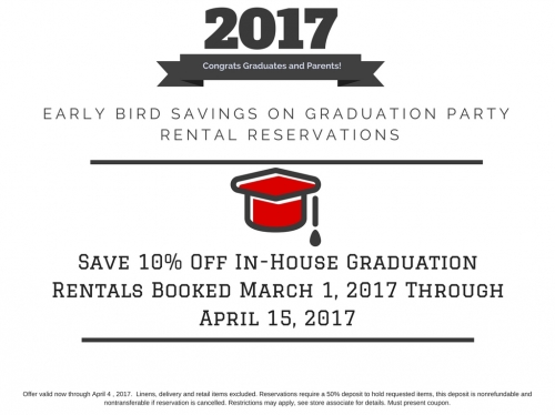 Early Bird Savings on 2017 Grad Party Rentals!