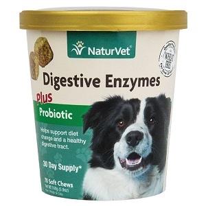NaturVet Digestive Enzymes Plus Probiotic Soft Chews 70ct