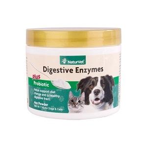 NaturVet Digestive Enzymes Plus Probiotic Powder 4oz