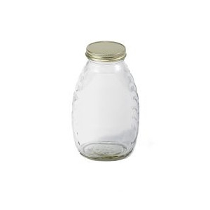 16 Ounce Glass Honey Jar, 1 Pound, Case of 12 Bottles with Lids