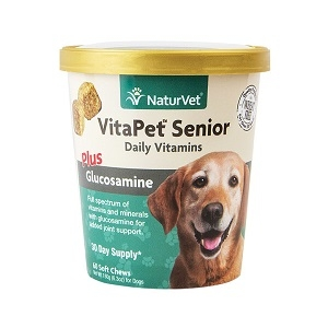 NaturVet VitaPet Senior Daily Vitamins Soft Chews Plus Glucosamine 60ct