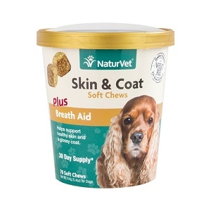 NaturVet Skin & Coat Soft Chews Plus Breath Aid 70 Count
