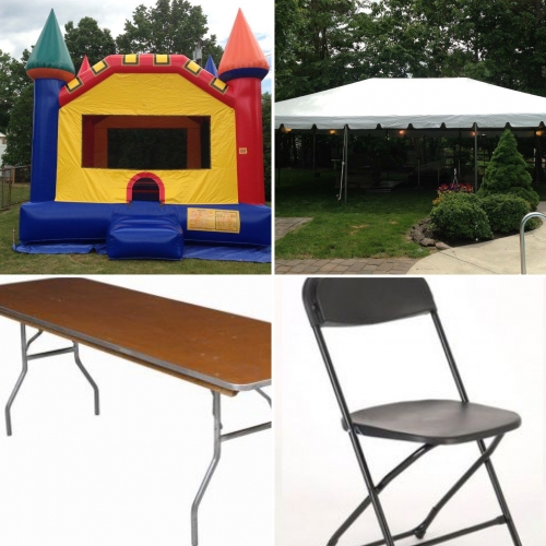 Cp#9: BOUNCE HOUSE 30x40 Tent PACKAGE, (12) Tables, 96 Chairs