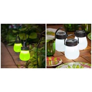 FireFly Frosted Solar Lanterns (Green & White)