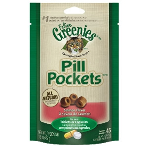 Greenies® Salmon Flavored Tablet or Capsule Pill Pockets™ for Cats (1.6oz-45 Count)