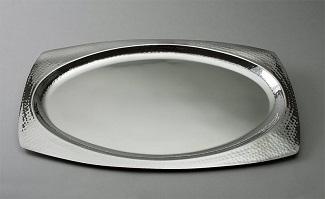Oval Hammered Finish Tray