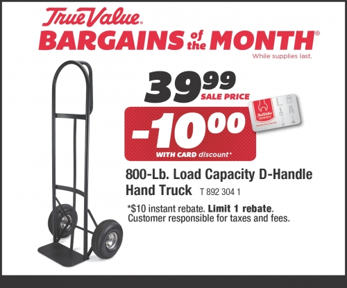 $39.99 for Hand Truck, D-Handle, 800-Lb. Capacity
