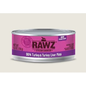 RAWZ 96% Turkey & Turkey Liver 5.5 Oz. Pate for Cats