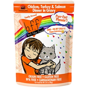 B.F.F. Purr-Fect Plannin'! Chicken, Turkey & Salmon Dinner in Gravy 2.8 oz. Pouch