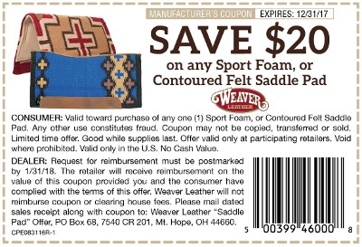 Save $20 on Select Weaver Saddle Supplies