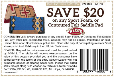 Weaver Saddle Pad Coupon