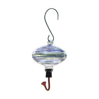 Blue Swirl Glass Hummingbird Feeder