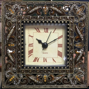 Amber Clock with Stones by Welforth