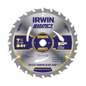 Irwin Marathon 7-1/4 in. Dia. 24 teeth C3 Carbide Tip Circular Saw Blade For Framing