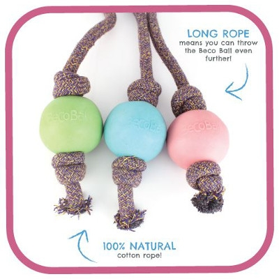 Beco Ball on Rope - Pink, Blue or Green Dog Toys