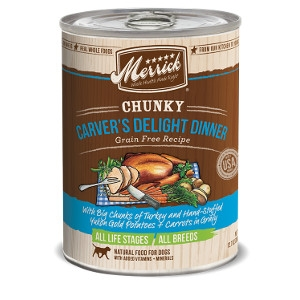 Merrick Chunky Carver's Delight Dinner Grain Free Recipe Canned Dog Food