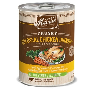Merrick Chunky Colossal Chicken Dinner Grain Free Recipe Canned Dog Food