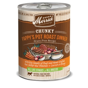 Merrick Chunky Pappy's Pot Roast Dinner Grain Free Recipe Canned Dog Food