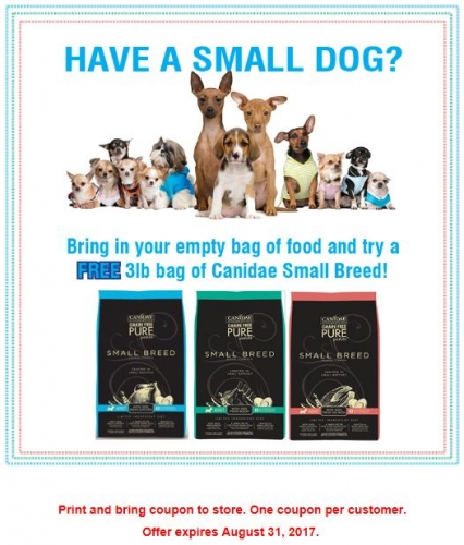 Free 3 Lb. Bag of Canidae Small Breed Food