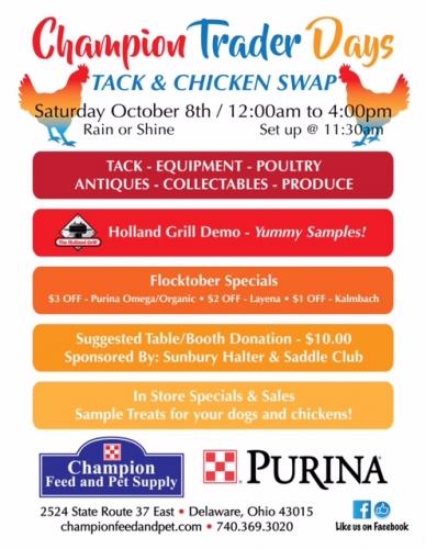 Champion Trader Days, Tack and Chicken Swap!