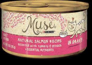 Muse Natural Salmon, Tomato & Spinach Recipe in Gravy, 3 ounce